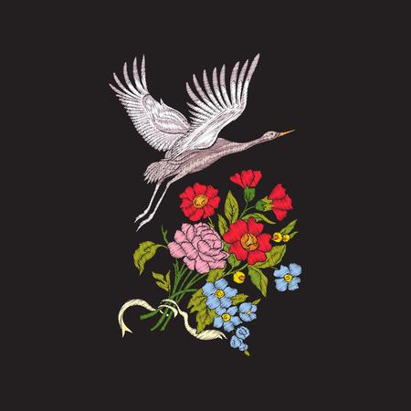자 수 꽃과 검은 배경에 크레인.