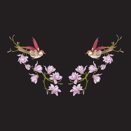 Embroidery neckline with flowers and swallow on black background