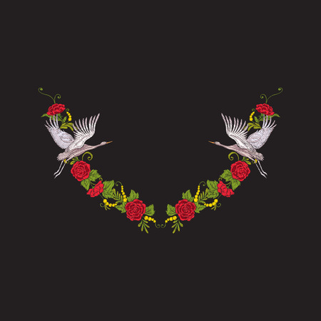 Embroidery neckline with flowers and crane on black background.