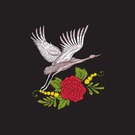 刺繍花、黒い背景にクレーン。