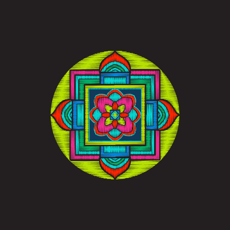Embroidery with tibet mandala on black background. 版權商用圖片 - 80092797