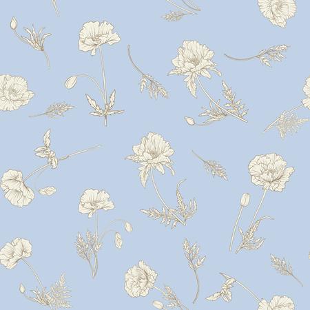 양 귀 비 꽃과 원활한 패턴