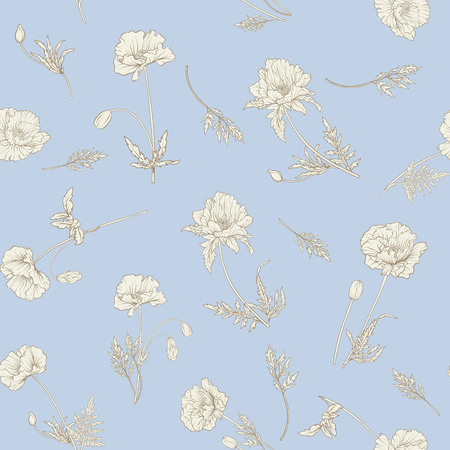 Seamless pattern with poppy flowers Stok Fotoğraf - 80264277