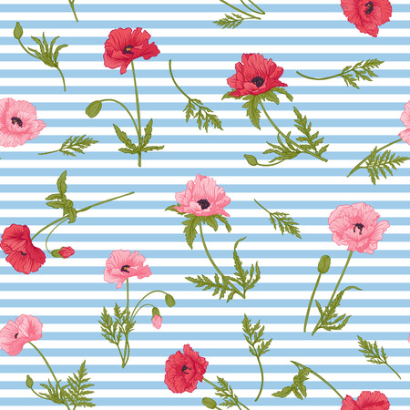 budding: Seamless pattern with pink and red poppy flowers in botanical st