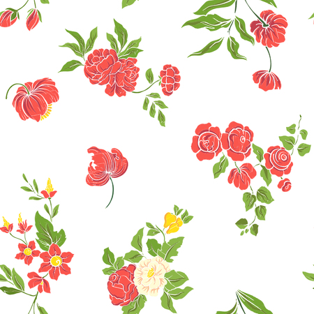 budding: Seamless pattern with vintage embroidered flowers