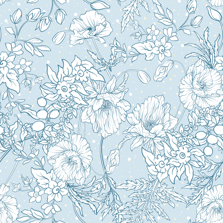 Patrón sin fisuras con flores de amapola, narcisos, anémonas, violeta Foto de archivo - 80313422