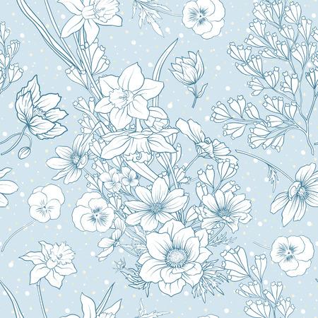 ポピーの花、水仙、アネモネ、バイオレットとシームレスなパターン