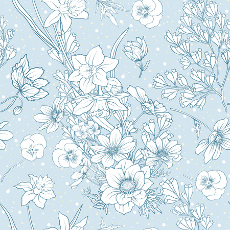 Seamless pattern with poppy flowers, daffodils, anemones, violet 版權商用圖片 - 80313428