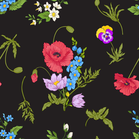 양 귀 비 꽃, 수 선화, 말미 잘, 보라색 원활한 패턴 일러스트