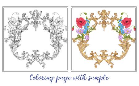 Set or outline und farbige Sommerblumen Bouquet von Mohn, daff Standard-Bild - 80380625