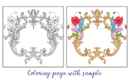 Set or outline and colored summer flowers bouquet of poppy, daff