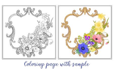 Conjunto o esquema y flores de verano de color ramo de amapola, daff