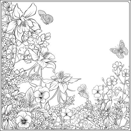 Composición con flores de primavera: tulipanes, narcisos, violetas, para Foto de archivo - 80537094