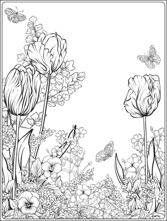 Composition with spring flowers: tulips, daffodils, violets