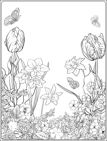 Composition avec des fleurs de printemps: tulipes, jonquilles, violettes, pour Banque d'images - 80553609
