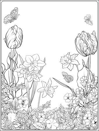 Samenstelling met lentebloemen: tulpen, gele narcissen, violen, voor