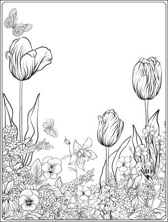 Composition avec des fleurs de printemps: tulipes, jonquilles, violettes, pour Banque d'images - 80554254