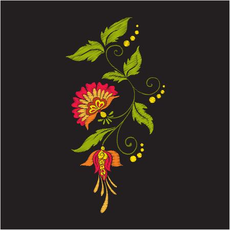 Stickerei Vintage Blumen Blumenstrauß oder Muster Standard-Bild - 80564912
