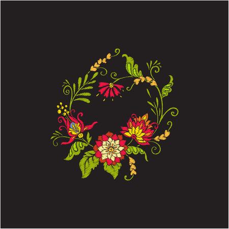 빈티지 꽃 꽃다발이나 패턴 자수 일러스트