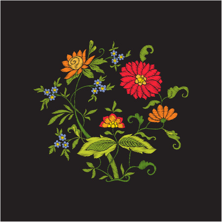 Borduren vintage bloemen boeket of patroon Stock Illustratie