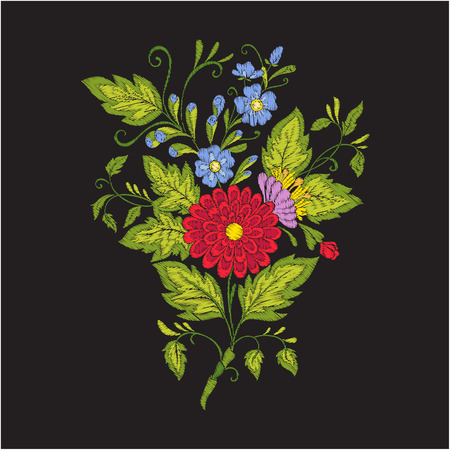 Embroidery vintage flowers bouquet or pattern