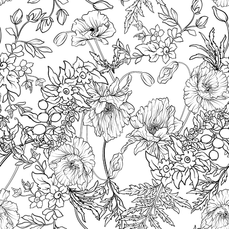 Seamless pattern with poppy flowers daffodil, anemone, violet in Imagens - 80632630