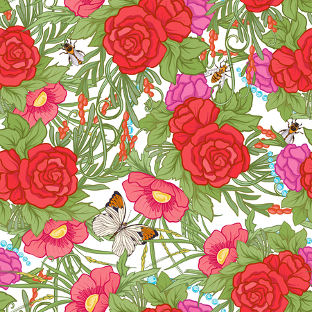 Floral seamless pattern with butterflies Ilustrace