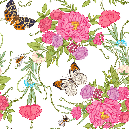 Floral seamless pattern with butterflies  イラスト・ベクター素材