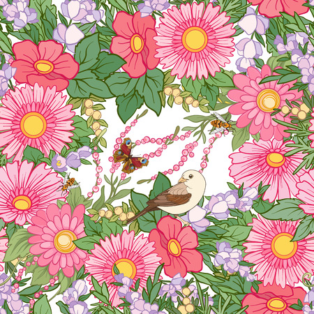 drapes: Floral seamless pattern with butterflies Illustration