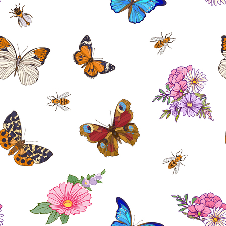 Bloemen naadloos patroon met vlinders