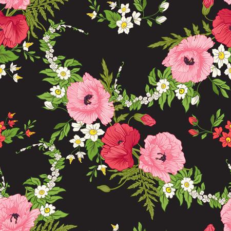 Naadloos patroon met papaver bloemen, gele narcissen, anemonen, violet