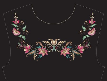 Embroidery for neckline, collar for T-shirt, blouse, shirt. Patt