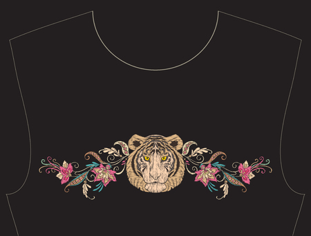 Embroidery for neckline, collar for T-shirt, blouse, shirt.