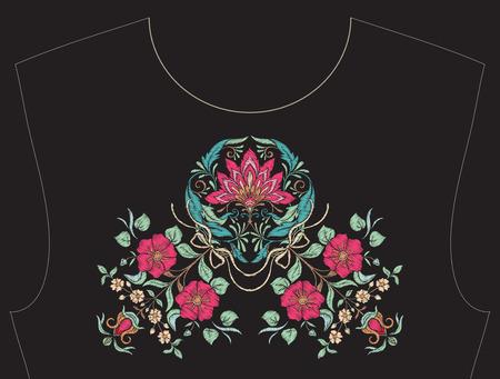 목줄 자수, 티셔츠, 블라우스, 셔츠 용 칼라. 꽃의 패턴. 주식 벡터 일러스트 레이 션. 검은 색 바탕에.