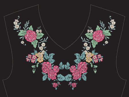 ネックライン、t シャツ、ブラウス、シャツの襟の刺繍。花のパターン。株式ベクトル イラスト。黒の背景。