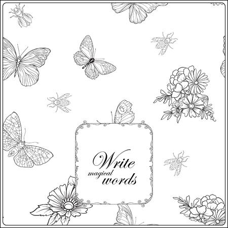 Patrón Floral Con Las Mariposas Y Las Abejas En Estilo Botánico ...