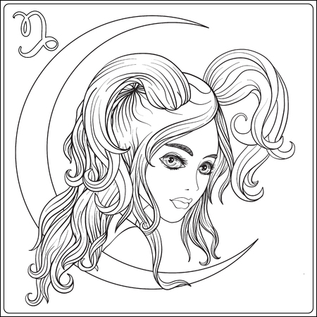 capricornus: Capricornus. A young beautiful girl In the form of one of the si