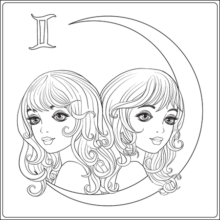 Gemini,  twins. A young beautiful girls In the form of one of th Zdjęcie Seryjne - 81511780