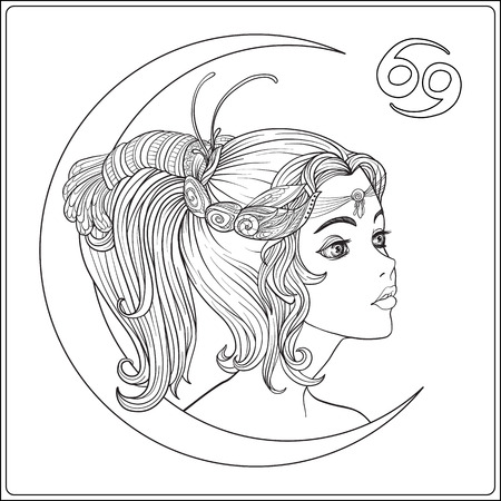 Cancer. A young beautiful girl In the form of one of the signs o Illustration