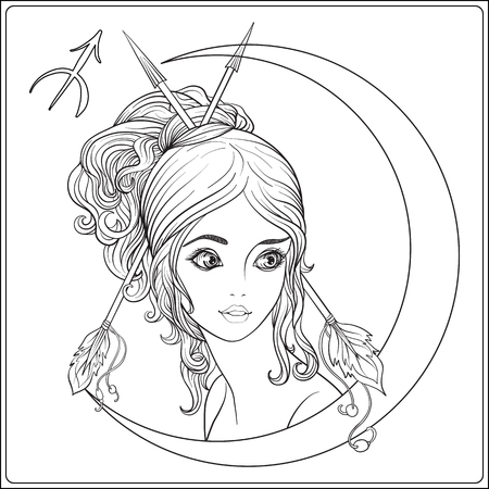 Sagittarius,  archer. A young beautiful girl In the form of one