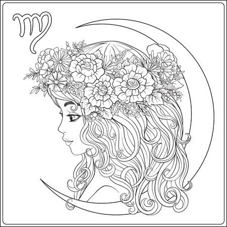 Virgo. A young beautiful girl In the form of one of the signs of Illustration