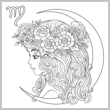 Vergine. Una giovane bella ragazza sotto forma di uno dei segni di Archivio Fotografico - 81513476