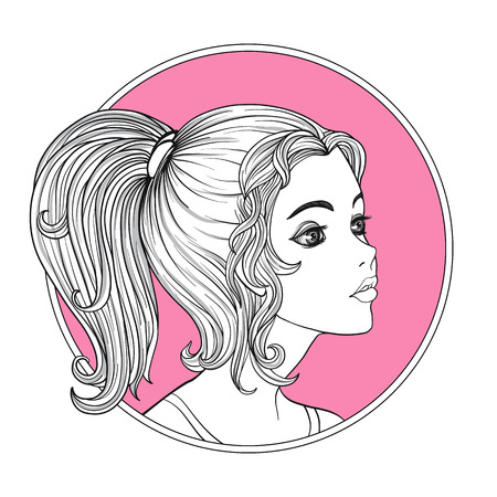 A young beautiful girl.  Monochrome portrait in circle on a pink background. Stock line vector illustration. Illustration