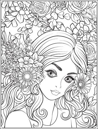 Een jong mooi meisje met een kroon van bloemen op haar hoofd. Tegen de achtergrond van een bloemenpatroon. Overzichtstekening kleurplaat voor volwassen kleurboek.
