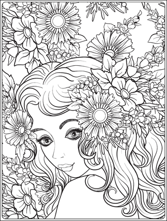 A young beautiful girl with a wreath of flowers on her head. Against the background of a flower pattern. Outline hand drawing coloring page for adult coloring book.
