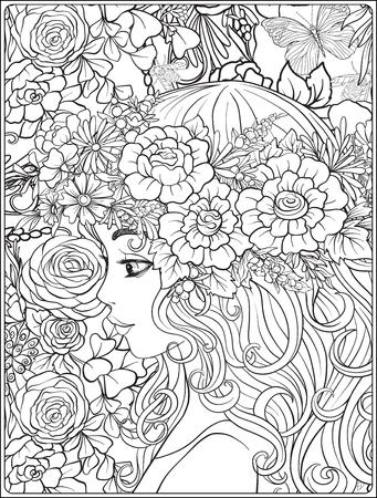 Una muchacha hermosa joven con una guirnalda de flores en su cabeza. Foto de archivo - 81799801