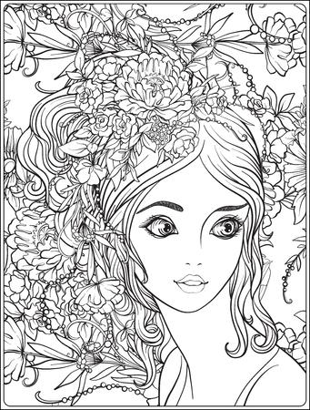 Een jong mooi meisje met een krans van bloemen op haar hoofd. Stockfoto - 81797365