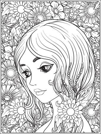 Een jong mooi meisje met een krans van bloemen op haar hoofd.