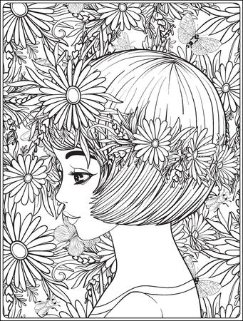 Ein junges schönes Mädchen mit einem Kranz aus Blumen auf dem Kopf. Standard-Bild - 81800524