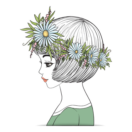 A young beautiful girl with a flower wreath on his head.